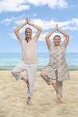 Portrait of a senior couple practicing yoga on the beach